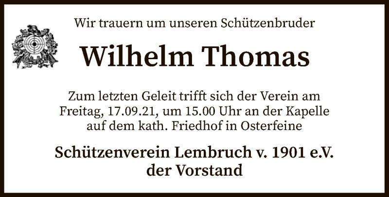 Traueranzeige für Wilhelm Thomas vom 15.09.2021 aus SYK